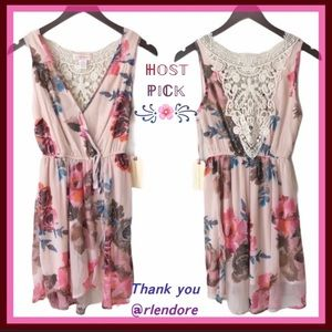 NWT BAND OF GYPSIES Pink Floral Faux-Wrap Dress